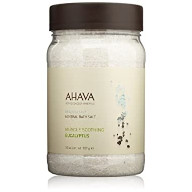 AHAVA Dead Sea Salt Mineral Bath Salt, Muscle Soothing Eucalyptus, 32 oz.