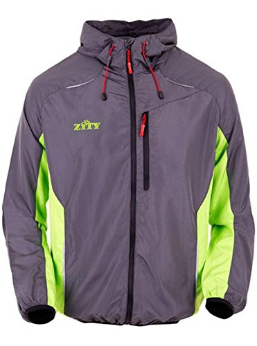 ZITY Men Cycling Jacket Jersey Vest Wind Coat Windbreaker Jacket Outdoor Sportswear Jacket (S, Green)