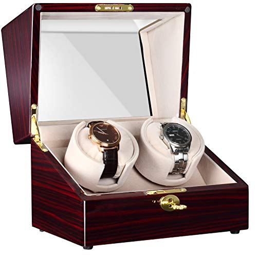 - CHIYODA Automatic Double Watch Winder with Two Quiet Mabuchi Motors, LCD Touch Control