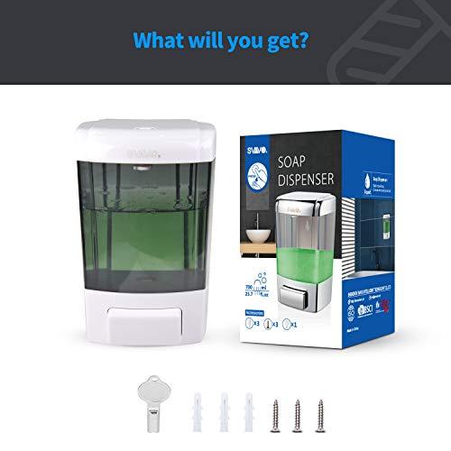 SVAVO Soap Dispenser Wall Mount 23.7oz / 700ml, Refillable Commercial Soap Dispenser, Wall Mounted Liquid Soap Dispensers for Bathroom, Kitchen, Restaurant, Body Wash, ABS Plastic