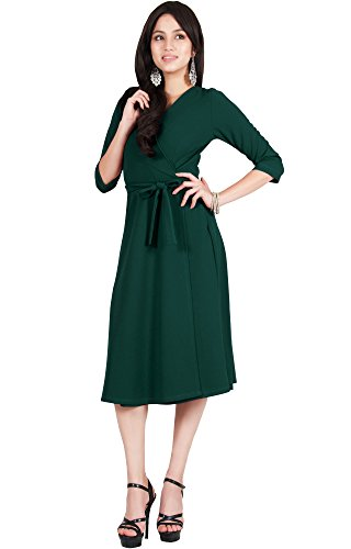 Viris Zamara Plus Size Womens V-Neck Half Sleeve Wedding Semi Formal  Working Office Flowy Flowing Solid Modest Cute Robe Knee Length Work A-line  ...