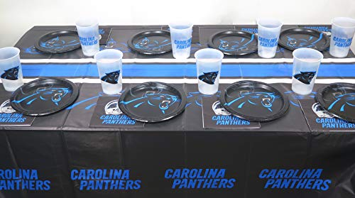 Carolina Panthers playoffs super bowl 49 pieces party set, Tablecloth,16 plate, 16 napkins, and large plastic 16 -