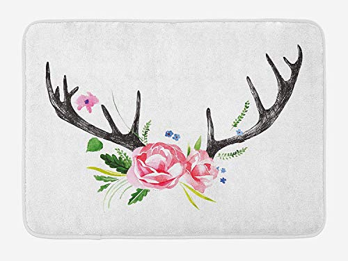 Lohebhuic Black Deer Horns with Pink Roses Floral Wreath Design in Watercolors Wildlife Art Plush Bathroom Decor Mat with Non Slip Backing,23.4