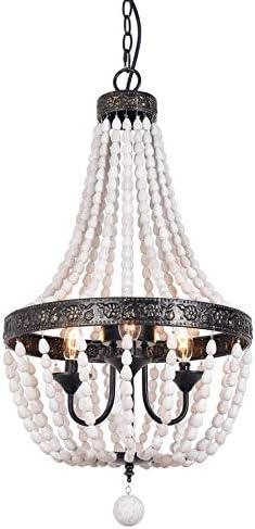 ANKARL Wood Beaded Chandelier Ceiling Pendant 3-Light Fixture Wooden Bead and Metal Chandeliers Hanging Lighting Home Decor Lamp for Bedrooms, Kitchen,Bathroom, Living Room