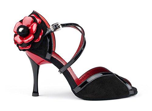PortDance Mujeres Zapatos de Baile PD501 Tango - Nubuck/Charol Negro/Rojo - 7 cm Slim