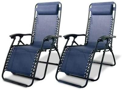 Lounge Chairs-Zero Gravity Chairs Case of 2 Navy Blue Lounge Patio Chairs Outdoor Yard Beach-Chair-Patio Furniture Sets-for Camping, Pool Days, Patio Furniture and so Much More-Guaranteed