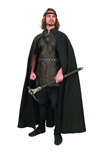 Museum Replicas Men's Adventurer's Cape Woven Black Cloak w/Strap (Strider Lord Of The Rings Costume)