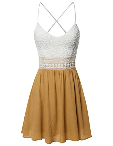 Sleeveless Spaghetti Strap Lace Detail Baby Doll Dress - Made in USA Mustard M -