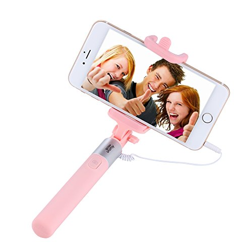 Selfie Stick Extendable Monopod Phone Holder Compatible With iPhone 7s 7 6s 6s Plus 6 5 5c and Other Android Cell Phones (Pink)