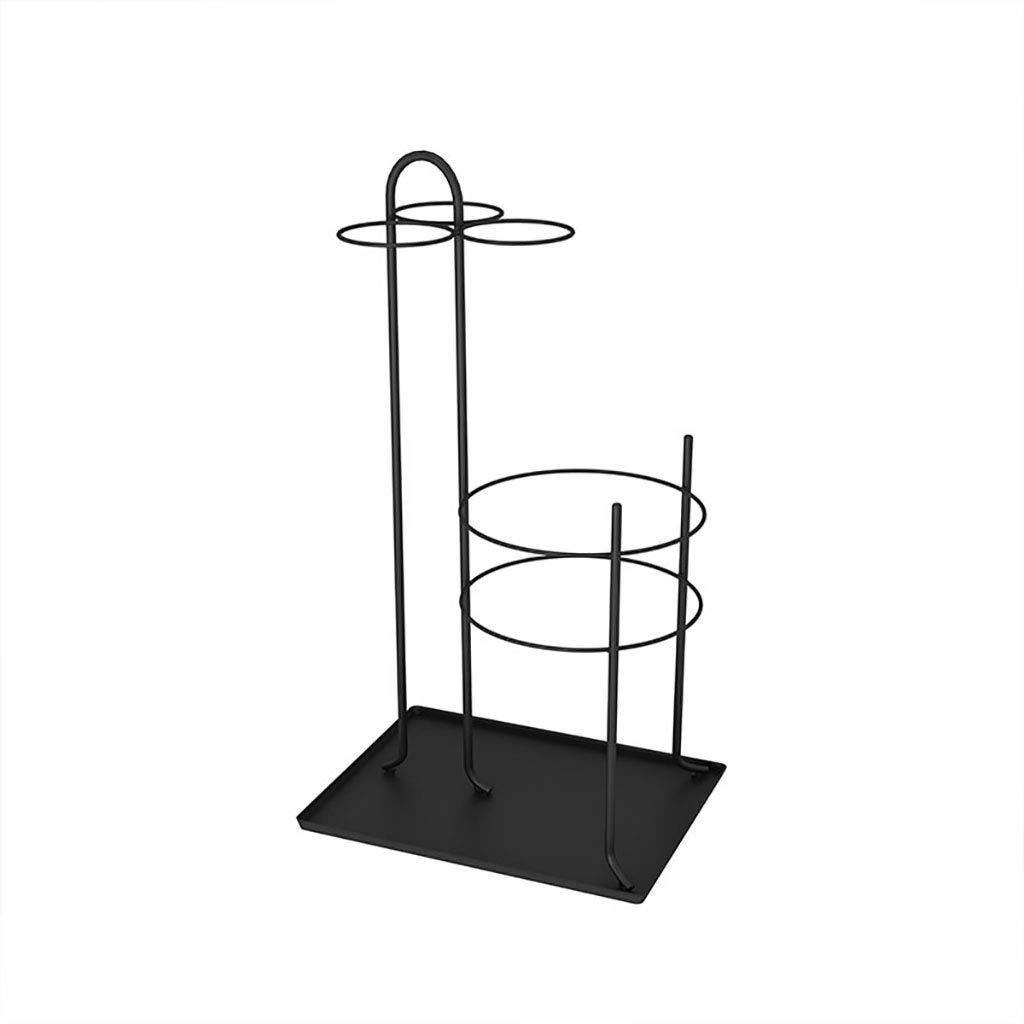 GRASSAIR Ombrello Stand Entryway Freestanding Iron Art Long Umbrella & Short Folding Umbrella Holder Stand Rack 25  33  60cm,nero