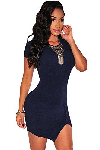 NEW Mesdames bleu ourlet asymétrique Mini robe Bodycon à manches courtes Club Parti Porter Robe d'été taille M 10–12