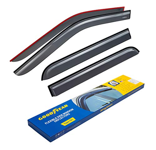 (Goodyear Shatterproof Side Window Deflectors for Trucks Ford F-150 2015-2019 SuperCrew Cab, Tape-on Rain Guards, Window Visors, 4 Pieces - GY003112)