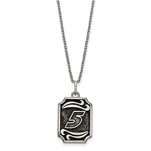 Kahne Ladies Steel Kasey Stainless - STAINLESS STEEL LogoArt Official Licensed NASCAR BALI TYPE VERTICAL PENDANT 5 KASEY KAHNE