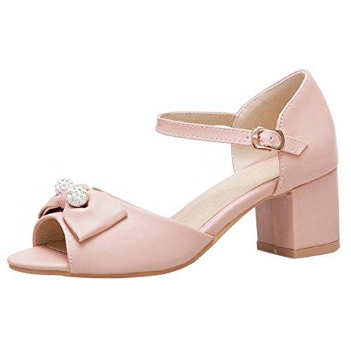 TAOFFEN Women Dress Shoes Ankle Strap Sandals Pink