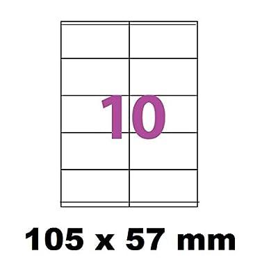 1000 Étiquettes 105 x 57 mm soit 100 feuilles de 10 Étiquettes blanches adhésives personnalisables . étiquettes 10.5 x 5.7 cm autocollantes pour imprimante jet d'encre et Impression laser .é