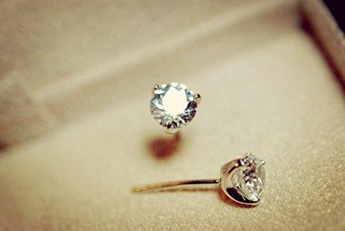 (usongs Ruili compact 3-jaw Swiss emulation 925 sterling silver earrings jewelry diamond earrings women girls)