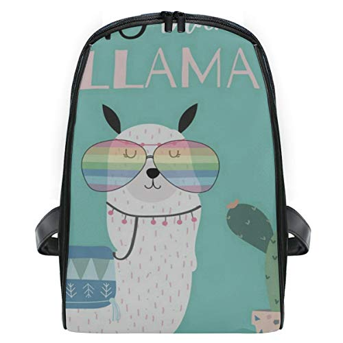 Backpack Alpaca Wearing Glasses Cactus Green Personalized Shoulders Bag Classic Lightweight Daypack ()