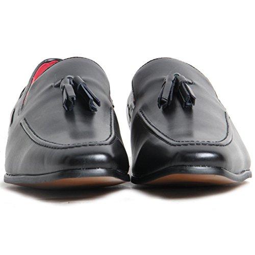 con nero 7 pelle foderate uomo scamosciata elemento Mocassini UK Matte da Black in decorativo TAxXXf