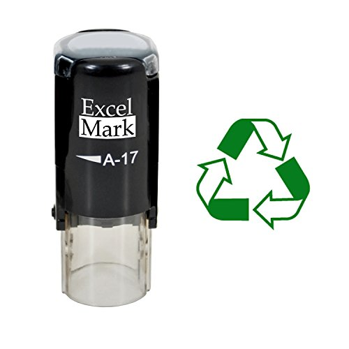 RECYCLE SYMBOL - ExcelMark A17 Self Inking Rubber Stamp - Green Ink