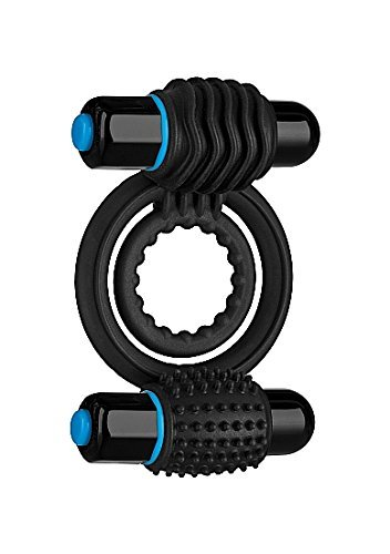 Shanhai OptiMALE - Vibrating Double C-Ring - Two Rings, one for shaft, one for testicles - Stretchable Silicone - 2 Powerful and Removable 10 Function Bullets - Black by BFY