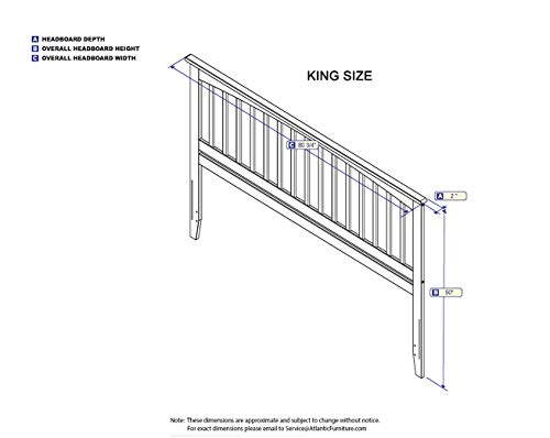Bedroom Atlantic Furniture Mission Headboard, King, Walnut farmhouse headboards