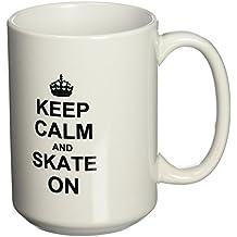 3dRose mug_157771_2 Keep Calm and Skate on Carry on Skating Funny Skateboarding Ice Skater or Roller Skating Gifts Ceramic Mug, 15-Ounce