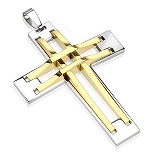 Jinique JSP-8081 Stainless Steel Stitch Cross Two Tone Gold IP ()