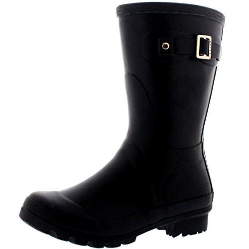 Womens Original Short Festival Waterproof Wellie Snow Wellingtons Boots - 6 - BLA37 BL0061 - Original Wellie Rain Boots