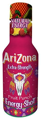 AriZona Extra Strength Energy Shot Fruit Punch Extra Strength, 2oz bottle (12 Count), Caffeine Boost Shot, With Green Tea Derived Caffeine, The Same Amount of Caffeine as a Cup of Coffee