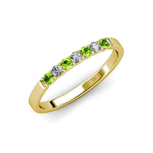 TriJewels Peridot and Diamond (SI2-I1, G-H) 7 Stone Wedding Band 0.25 ct tw in 14K Yellow Gold.size 6.5
