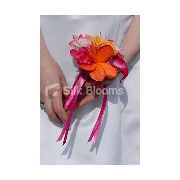 Tropical Orange & Pink Mini Posy Bouquet w/ Frangipanis & Roses