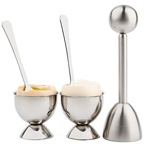 Soft Hard Boiled Egg Cutter Topper Set Egg Cracker with Include 2 Cup 2 Spoon 1 Topper Cutter Shell Separator Remover Stainless Steel Kitchen ()