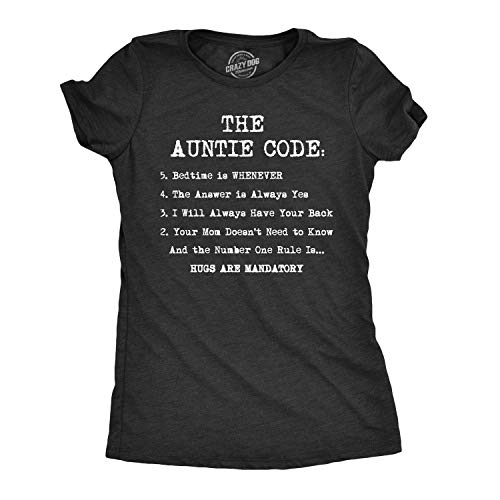 Womens The Auntie Code Tshirt Funny Niece Nephew Family Tee for Ladies (Heather Black) - XXL ()