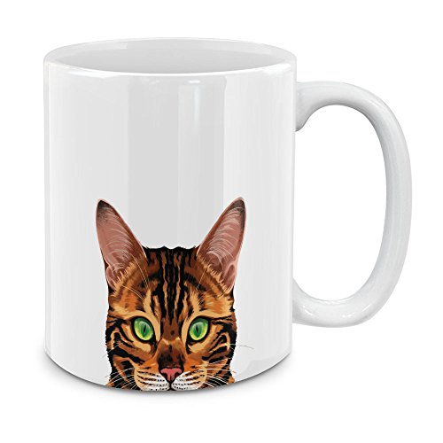 MUGBREW Spotted Brown Bengal Cat White Ceramic Coffee Mug Tea Cup, 11 OZ