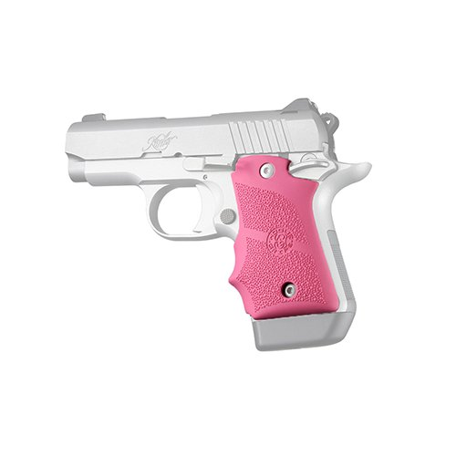 (Hogue 39087 Kimber Micro 9 Ambi Safety Rubber Grip with Finger Grooves Pink Gun Grips)