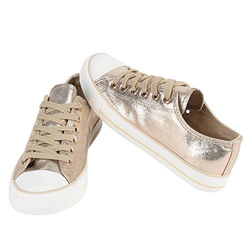Glänzende Damen Sneakers Glitzer Metallic Sneaker Low Pailletten Flats Turnschuhe Leder-Optik Flandell Gold Gold