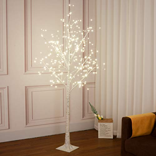 Vanthylit 6FT 288LT White Birch Tree with Fairy Lights Warm White for Indoor and Outdoor (Lighted Branches Silver)