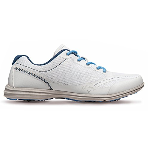 Callaway Footwear Women's Solaire Golf Shoe, White/Navy/Blue, 9 M US