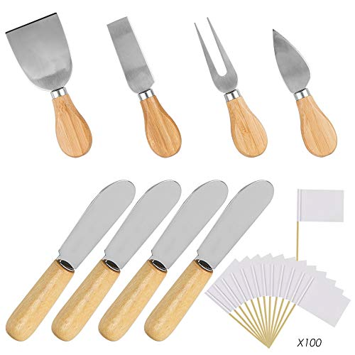Wood Handle Cheese Knives Spreaders Set with Blank Toothpick Flags, DaKuan 10 Pieces Cheese Slicer Cheese Cutter Condiment Knives Set and 100 Pieces White Flags Labeling Cheese Markers