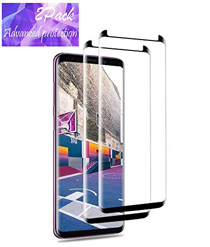 LEDitBe for Samsung Galaxy S9[3D Curved] [Anti-Scratch][Anti-Fingerprint][Bubble Free] Screen Tempered Glass Screen Protector for Samsung Galaxy S9 (Black)[2Pack] by LEDitBe