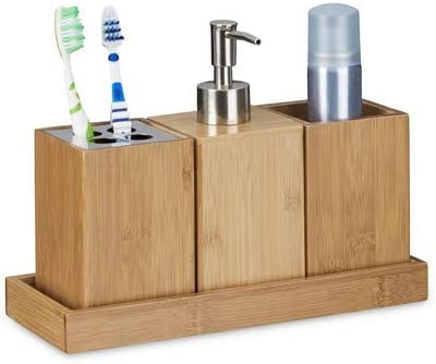 4 pezzi totali in colore naturale con porta-spazzolini e porta-sapone Relaxdays Set porta accessori per bagno