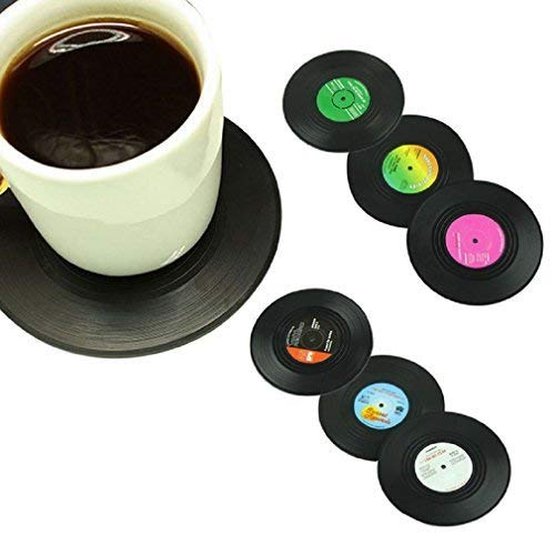 Morecome 6Pcs/Set Spinning Retro Vinyl Record Drinks Coasters / Vinyl Coaster Cup Mat