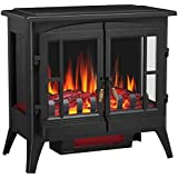 Joy Pebble Compact Electric Fireplace Heater, Freestanding Stove Heater with Realistic Flame - ETL Certified - Overheating Pr