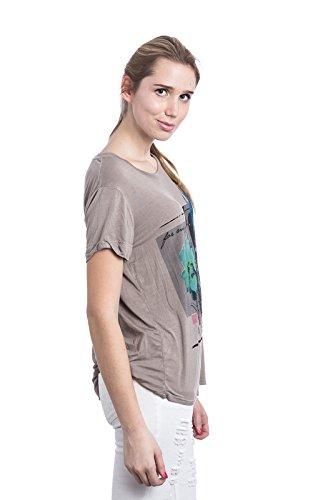 Abbino 6308-1 Shirts Tops para Mujeres - Hecho en ITALIA - 3 Colores - Entretiempo Primavera Verano Otoño Casual Chica Vintage Elegantes Impresión Interiores Rebajas Manga Corta - Talla única Marrón Fango