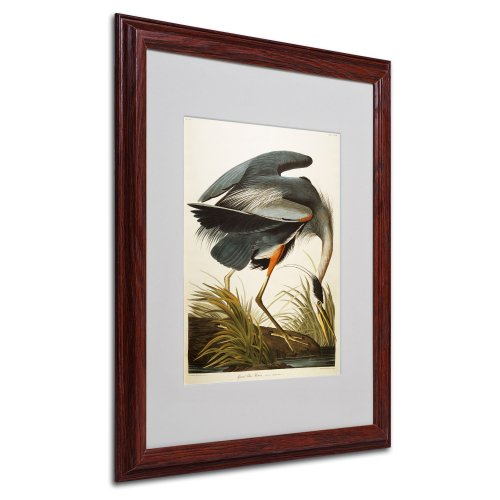 Great Blue Heron Matted Artwork by John James Audubon with Wood Frame, 16 by ()