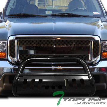 Topline Autopart Black Bull Bar Brush Push Front Bumper Grill Grille Guard With Skid Plate For 99-04 Ford F250 / F350 / F450 / F550 Superduty ; 00-04 - Bully Brush Guard