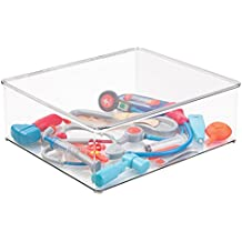 """mDesign Kids/Baby Toy Storage Box, for Blocks, Play Kitchen Pieces, Costumes - 14.5"""" x 13"""" x 5"""", Clear"""