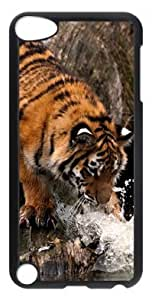 DIY Fashion Case for iPod Touch 5 Generation Black PC Case Back Cover for iPod Touch 5th with Tiger Playing With Water