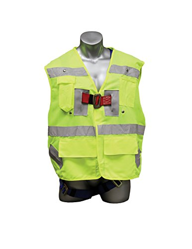 Elk River 55394 Polyester Freedom 3 D-Ring Vest Harness with Mating Buckle and Fall Indicator, Fits Medium to X-Large, Safety Green - D-ring Freedom Harness