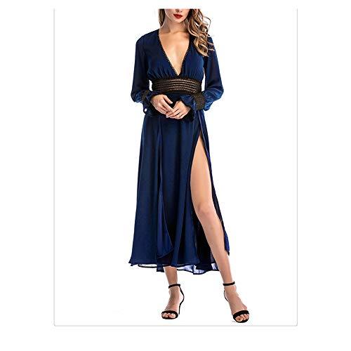 Isbxn Vestido de Temperamento Elegante de Las señoras de Manga Larga con Cuello en v Profundo Mujeres (Color : Red, Size : S) Blue